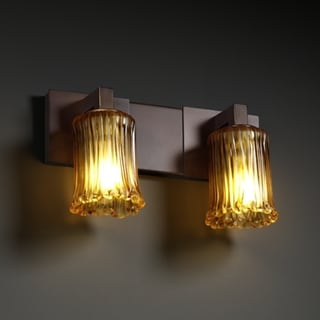 2-light Rippled Rim Dark Bronze with Amber Glass Vanity Fixture