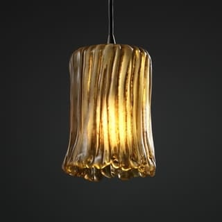 1-light Rippled Rim Dark Bronze with Amber Glass Pendant