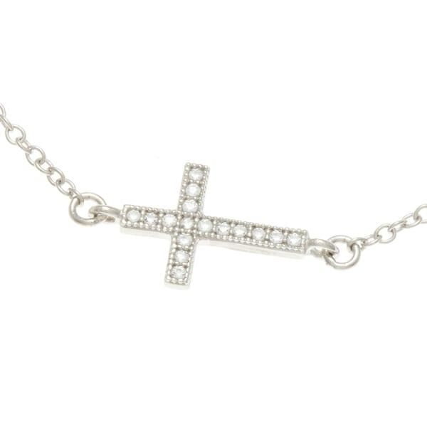 Sterling Silver Cubic Zirconia Sideways Cross Necklace