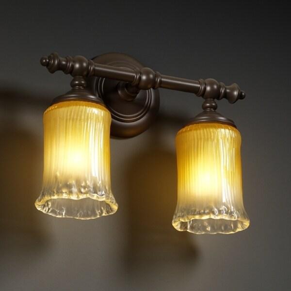 Justice Design Group 2-light Gold Venetian Glass Dark Bronze Rim Wall Sconce 10367587
