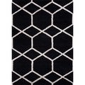 Hand-Tufted Black/White Modern Geometric Wool/Silk Rug (3'6 x 5'6)