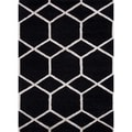 Modern Ebony Geometric Wool/Silk Tufted Rug (8' x 11')