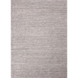 Hand-loomed Solid Gray Wool Rug (9'6 x 13'6)
