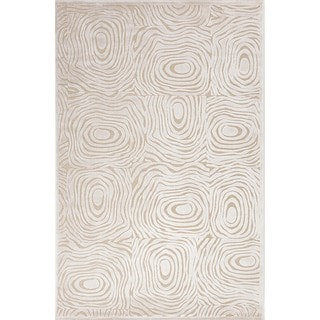Modern Abstract Viscose/Chenille Rug in Cream (7'6