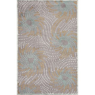 Transitional Abstract Blue Viscose/ Chenille Rug (2' x 3')