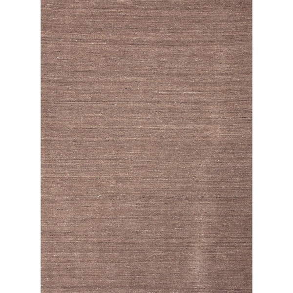 Hand-loomed Solid Beige Wool Runner (2'6 x 8')