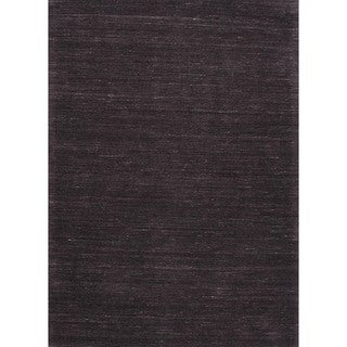 Hand-Loomed Solid Blackberry/Gray Wool Runner (2'6