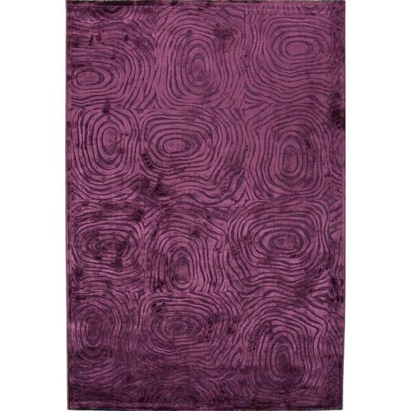 "Modern Abstract Viscose/Chenille Rug in Dark Violet (7'6"" x 9'6"")"
