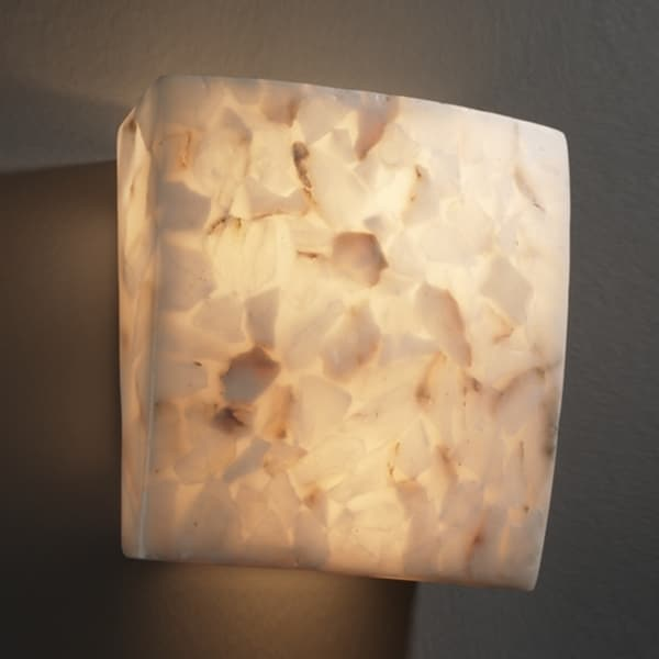 Justice Design Group Two-light Alabaster Rocks Square Wall Sconce