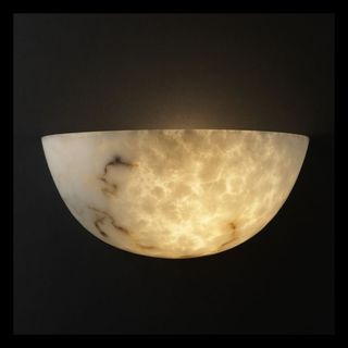 2-light Large Quarter Sphere Faux Alabaster Wall Sconce