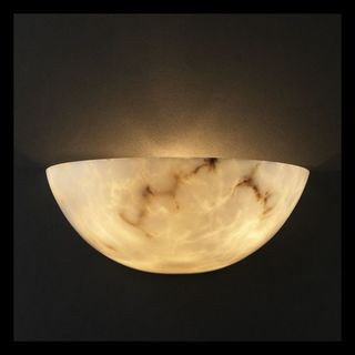 2-light Quarter Sphere Faux Alabaster Wall Sconce
