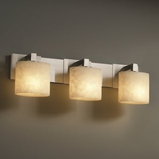 Justice Design Group 3-light Oval Brushed Nickel with Clouds Resin Vanity Fixture