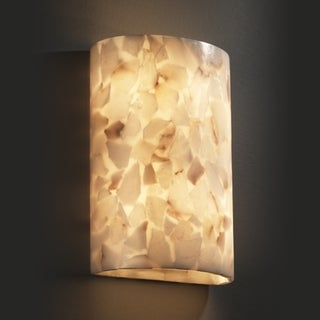 2-light Cylinder Natural Alabaster Rocks Wall Sconce