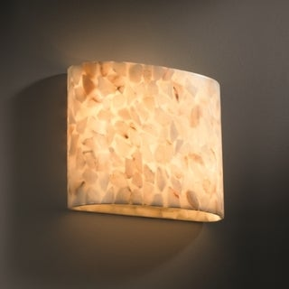 2-light Oval Natural Alabaster Rocks Wall Sconce
