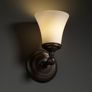 1-light Round Flared Dark Bronze with Opal Glass Wall Sconce