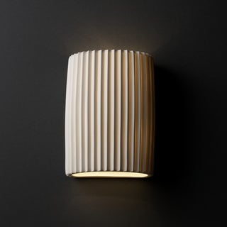 Justice Design Group 1-light Pleated Impression Cylinder Porcelain Wall Sconce