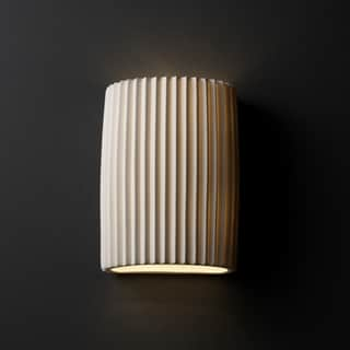 1-light Pleated Impression Cylinder Porcelain Wall Sconce