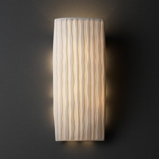 1-light Rectangular Waterfall Impression Porcelain Wall Sconce