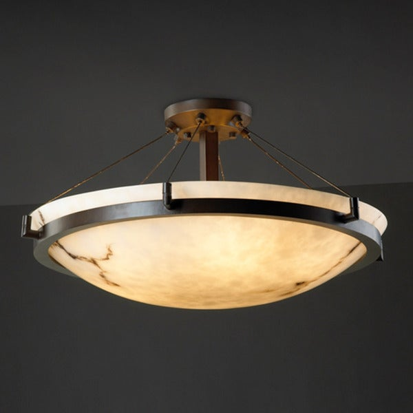 Justice Design Group 6-light Dark Bronze with Faux Alabaster Semi-flush Light Fixture
