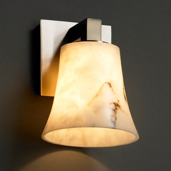 Justice Design Group 1-light Brushed Nickel with Faux Alabaster Wall Sconce