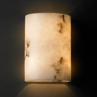 2-light Small Cylinder Faux Alabaster Wall Sconce
