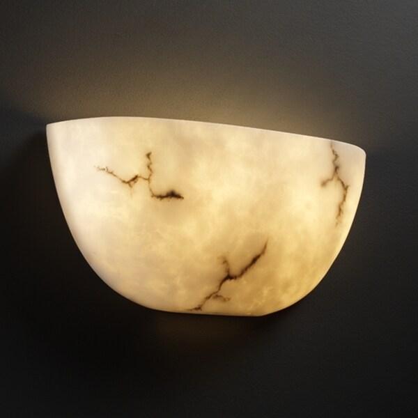 Justice Design Group 2-light Quarter-Sphere Faux-Alabaster Uplight Wall Sconce