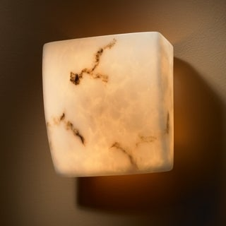 2-light Square Faux Alabaster ADA Approved Wall Sconce