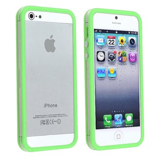 BasAcc Clear/ Green TPU Bumper Case with Aluminum for Apple iPhone 5