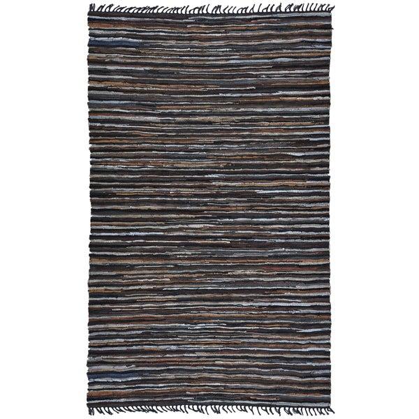 Hand Woven Matador Brown Stripe Leather Rug (4' x 6')