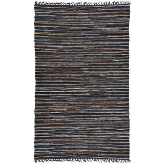 Hand Woven Matador Brown Stripe Leather Rug (5' x 8')