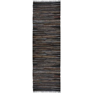 Hand Woven Matador Brown Stripe Leather Rug (2.5'x12')