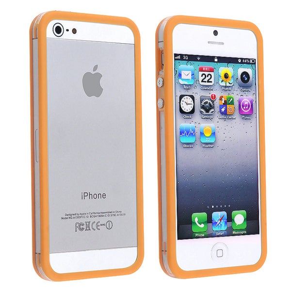 INSTEN Clear/ Orange TPU Bumper Phone Case Cover with Aluminum for Apple iPhone 5/ 5S/ SE