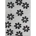 Hand-made Alliyah Ash Grey Blend Wool Floral Rug (5' x 8')