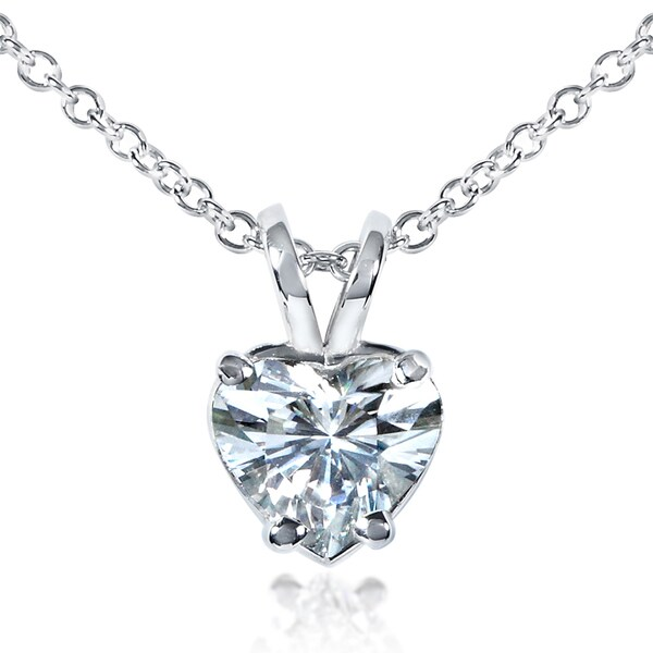 Annello 14k Gold Heart-cut Moissanite Solitaire Necklace