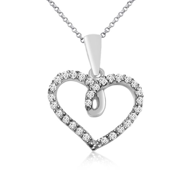 10k White Gold 1/10ct TDW Diamond Heart Necklace (I-J, I1-I2)