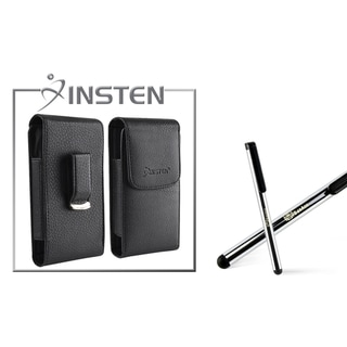 INSTEN Black with Belt Clip Leather Case/ Stylus for Apple iPhone 4/ 4S