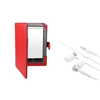 BasAcc Red Leather Case/ Headset for Barnes & Noble Nook Tablet