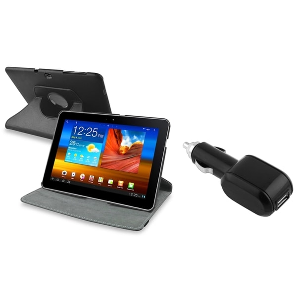 BasAcc Swivel Case/ Car Charger for Samsung Galaxy Tab 10.1 P7500