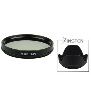INSTEN Lens Hood/ CPL Filter for Canon EOS 7D/ 50D/ 60D Mark II