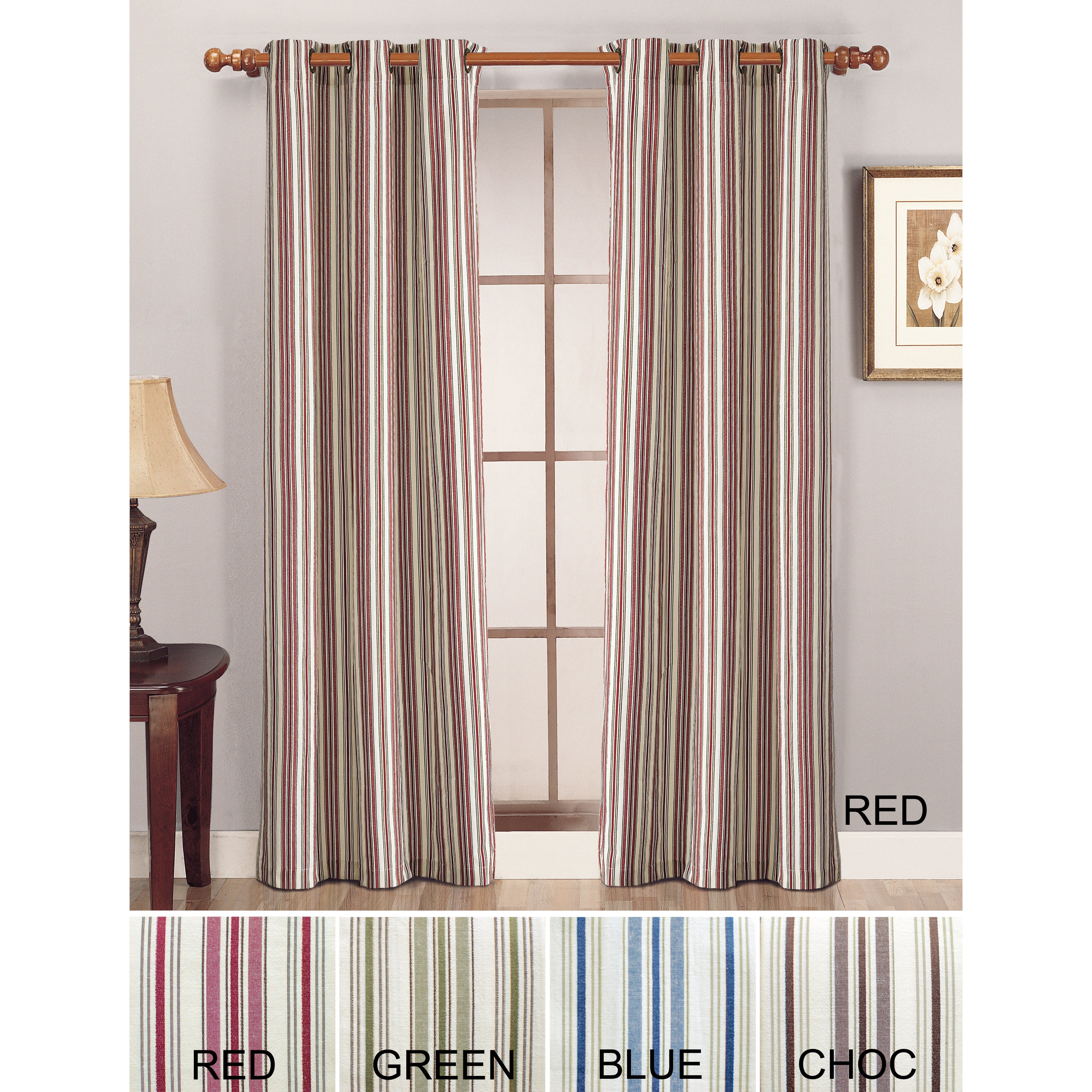 Lightweight Canvas Stripe Curtain Panel Pair at Sears.com