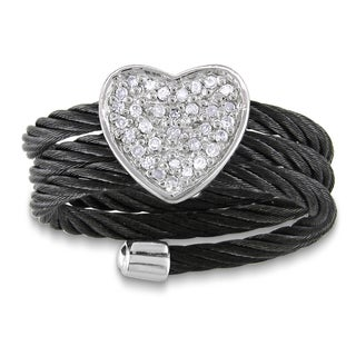 M by Miadora Sterling Silver Diamond Black Cable Heart Ring with Bonus Earrings