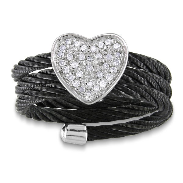 Haylee Jewels Sterling Silver Diamond Black Cable Heart Ring