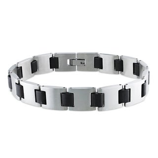 Miadora Stainless Steel Men's Black Link Bracelet