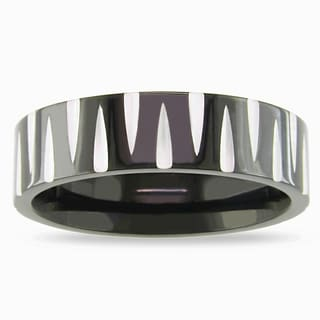 M by Miadora Stainless Steel Men's Black and White Ring