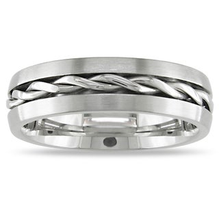 M by Miadora Stainless Steel Men's Braided Center Line Design Ring