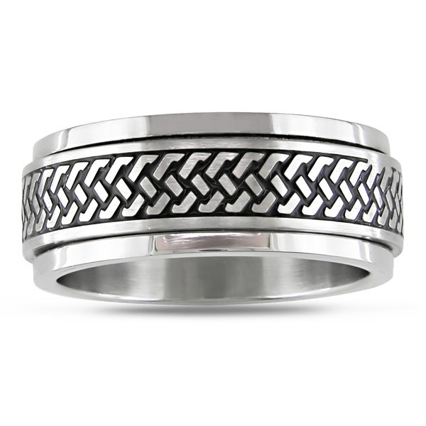 M by Miadora Stainless Steel with Black Enamel Men's Spinner Ring