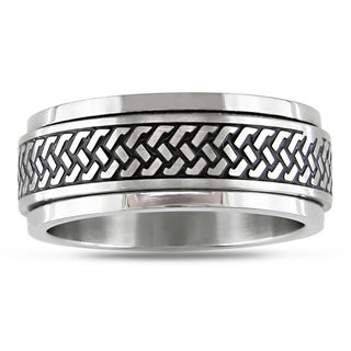 Miadora Stainless Steel with Black Enamel Men's Spinner Ring