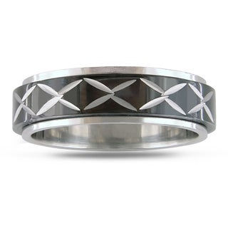 M by Miadora Stainless Steel Black-plated Spinner Ring