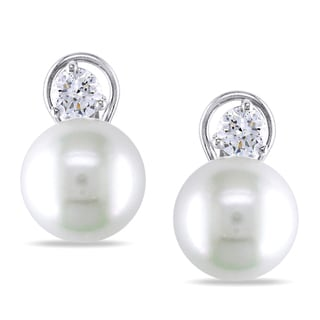 Miadora 14k Gold South Sea Pearl and 1ct TDW Diamond Earrings (G-H, I1-I2)