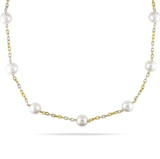 Miadora Signature Collection 14k Two-tone Gold White Pearl Tin-cup Necklace (10-11 mm)